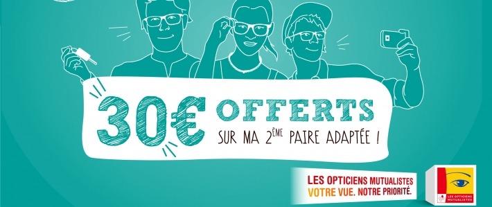 Les Opticiens Mutualistes offrent 30 euros sur la 2e paire de lunettes 65fb425e34f8