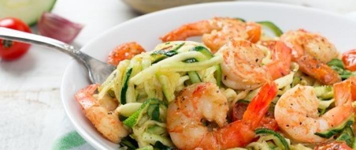nouilles de courgettes aux crevettes