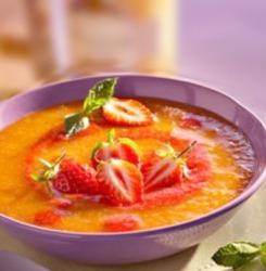 dessert soupe abricots fraises